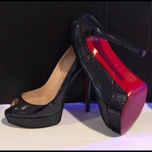 Christian Louboutin Lady Peep Metallic Heels